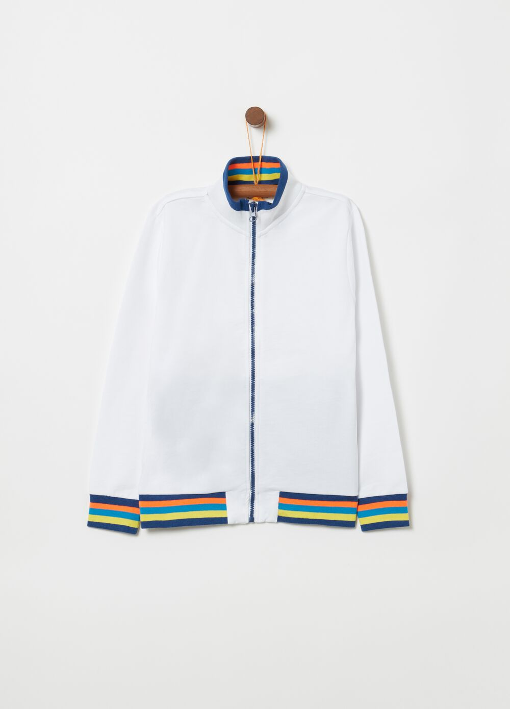 Full-zip sweatshirt with high neck and striped print