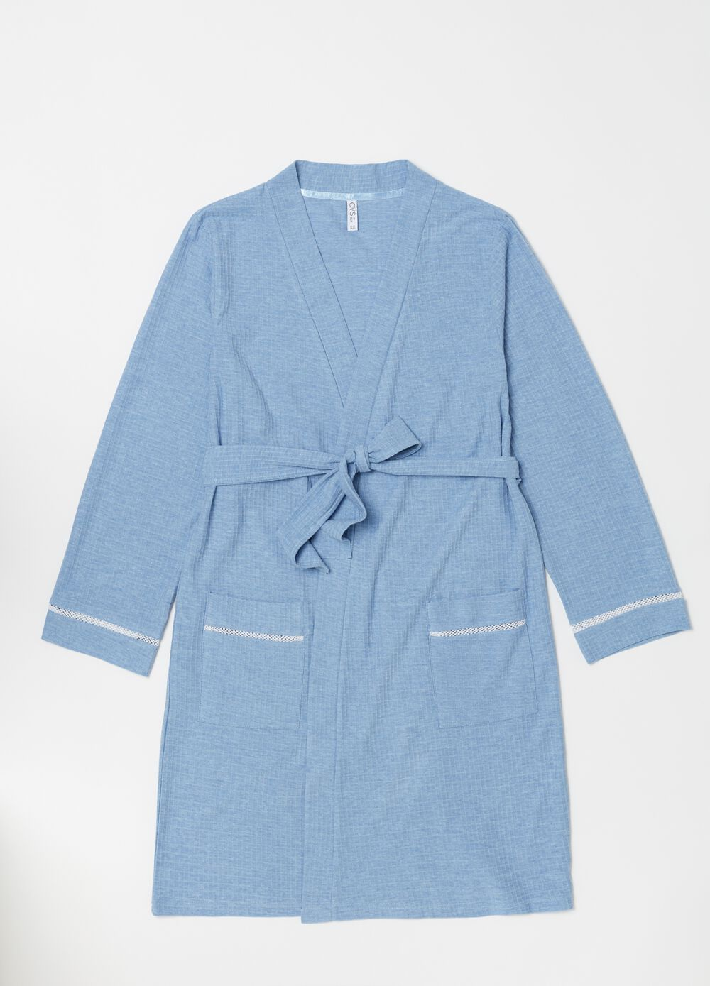 Thick rib dressing gown in textured cotton