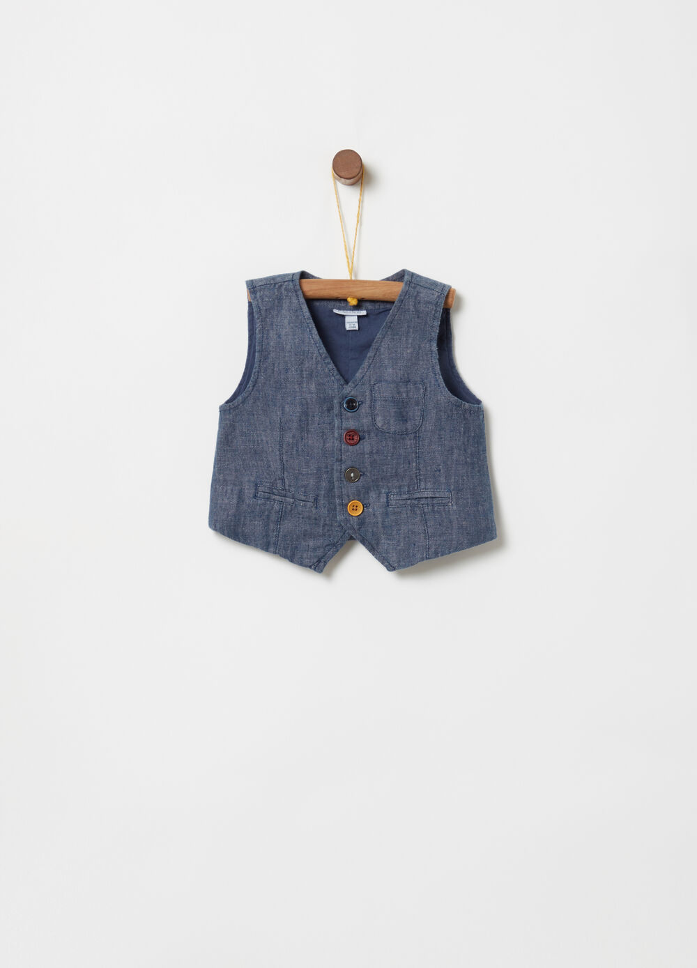 100% linen gilet with coin pocket and pockets