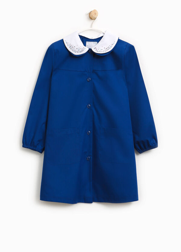 Cotton blend smock with double collar | OVS