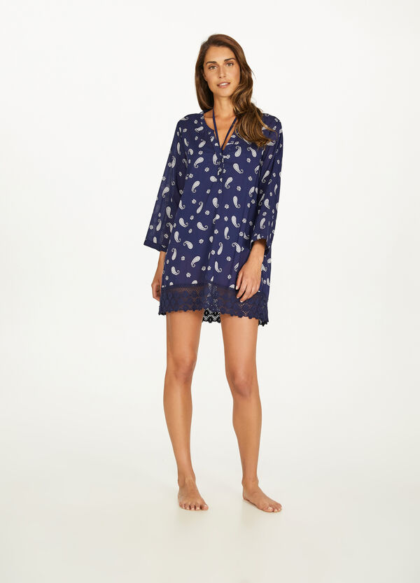 Beach kaftan in floral cotton and lace