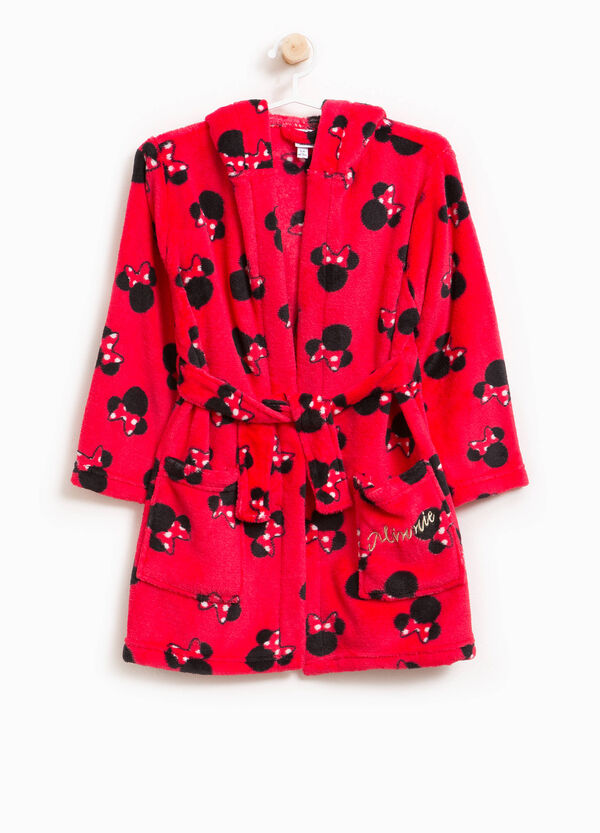 Patterned Minnie Mouse dressing gown with hood