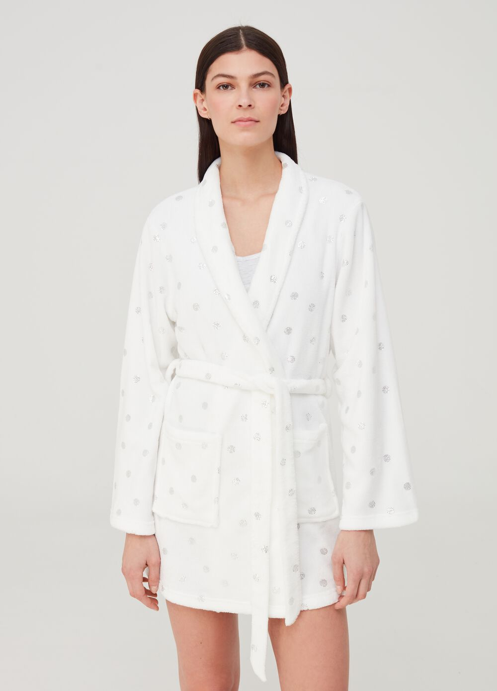 Fleece dressing gown with belt and diamantés