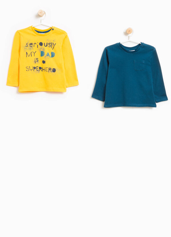 Two-pack cotton T-shirts with print and pocket | OVS