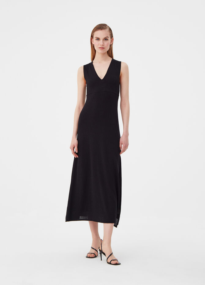 Long sleeveless dress with knitted lurex