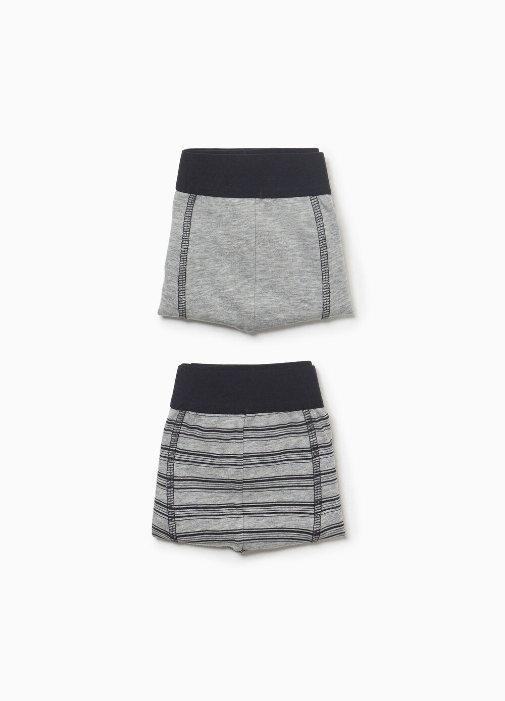 Two-pack solid colour and striped stretch boxer shorts