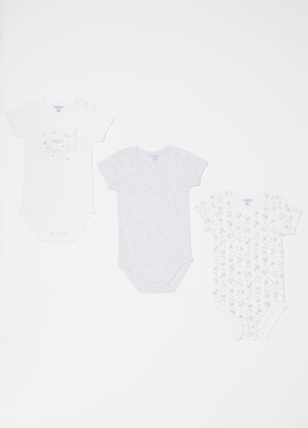 Set of three mélange biocotton bodysuits with rabbits