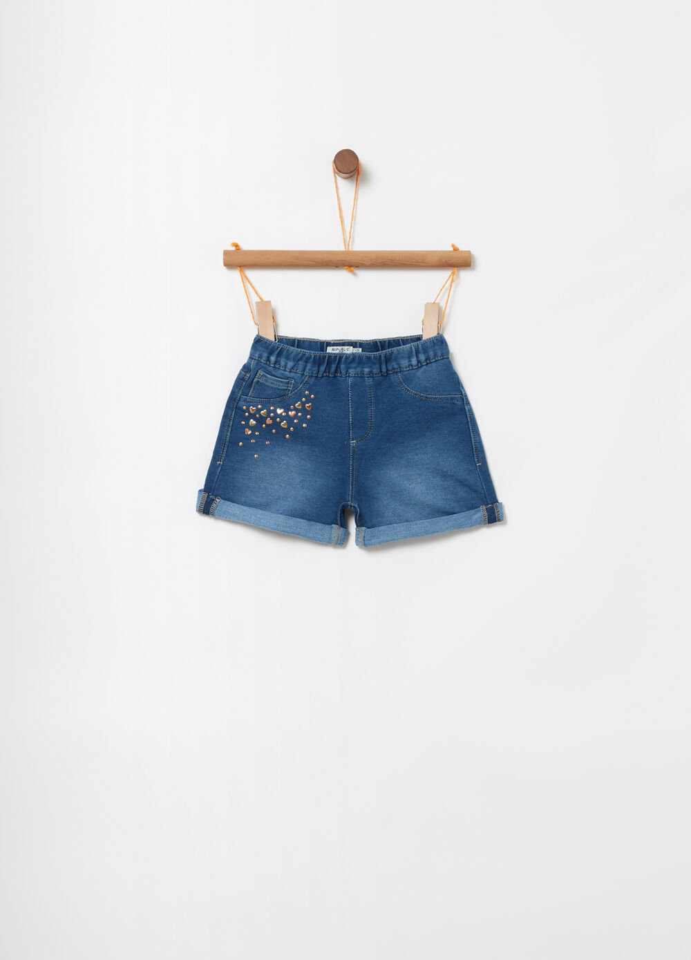 Shorts denim felpato stretch borchiette