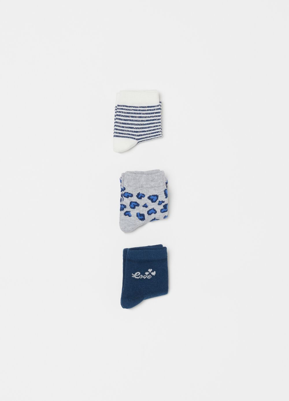 Three-pair pack short socks with glitter and pattern
