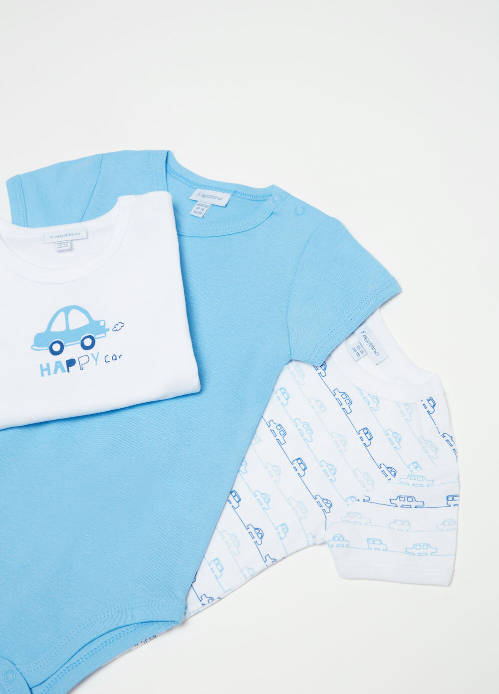 Three-pack bodysuits in 100% cotton with cars