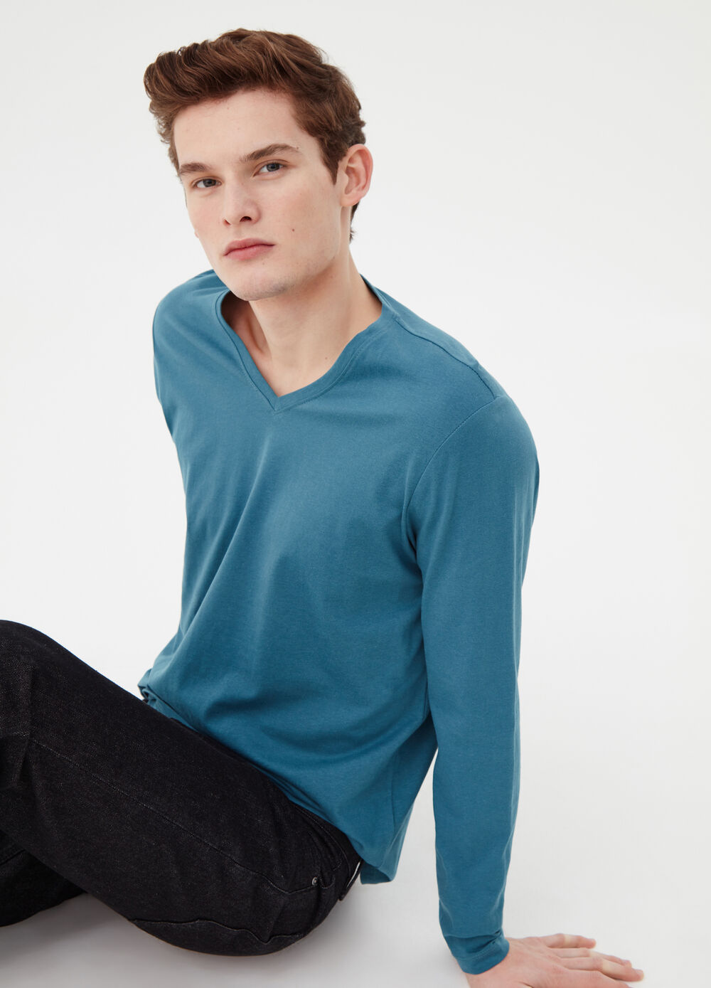 Long-sleeved T-shirt in cotton jersey