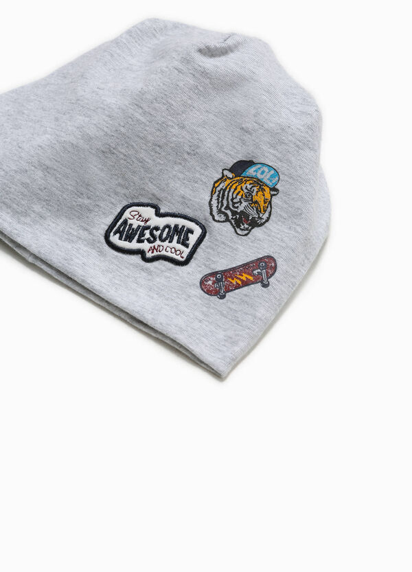 Beanie cap with patch and print | OVS