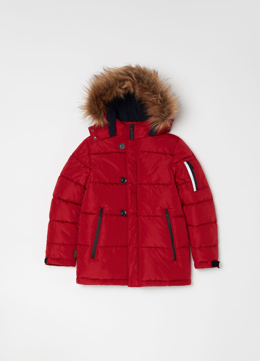Parka with quilting and fur