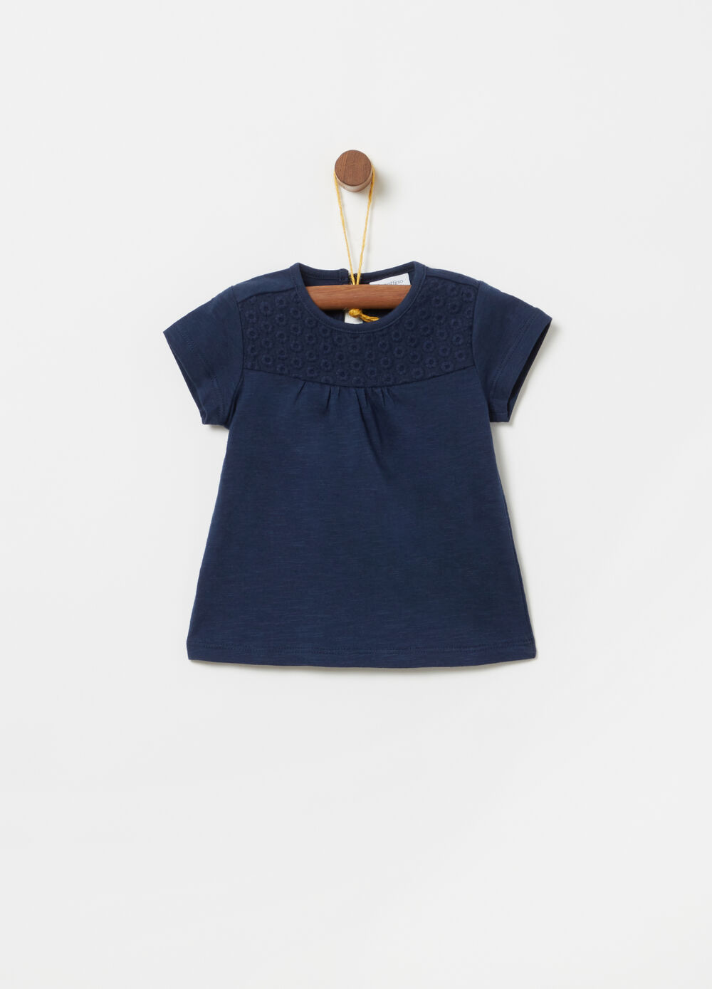 Slub jersey T-shirt with embroidered insert