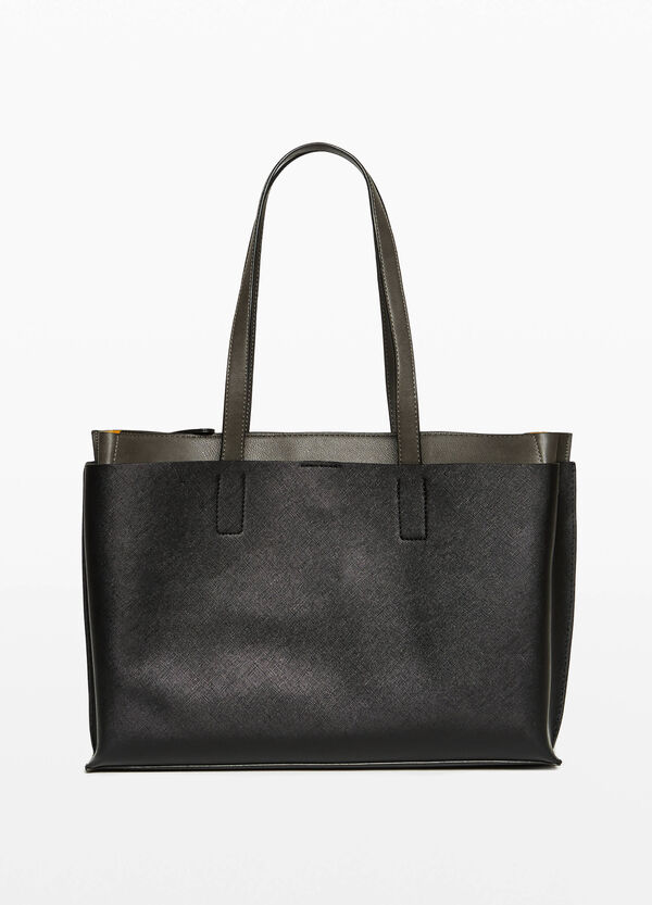 Shoulder bag with faux layer