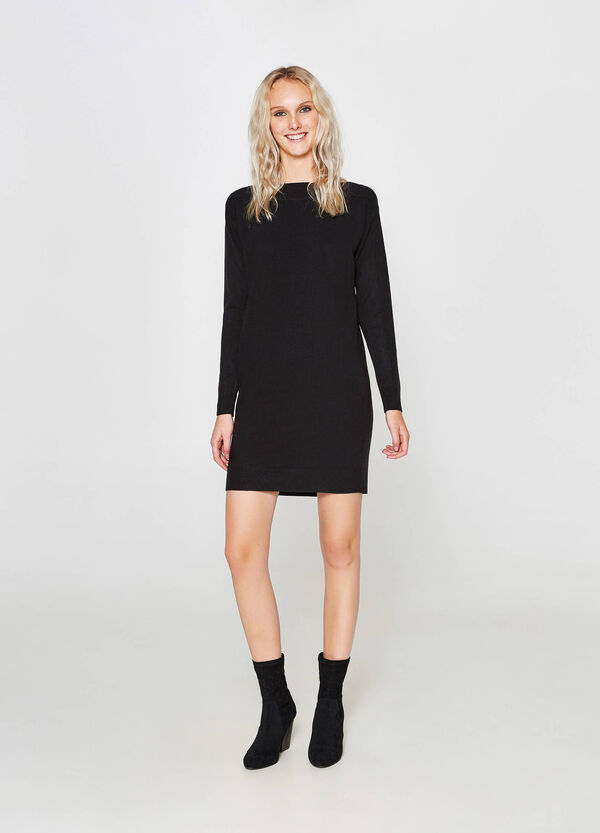 Dress with long sleeves and ribbing | OVS