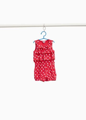 Polka dot stretch romper suit with flounce