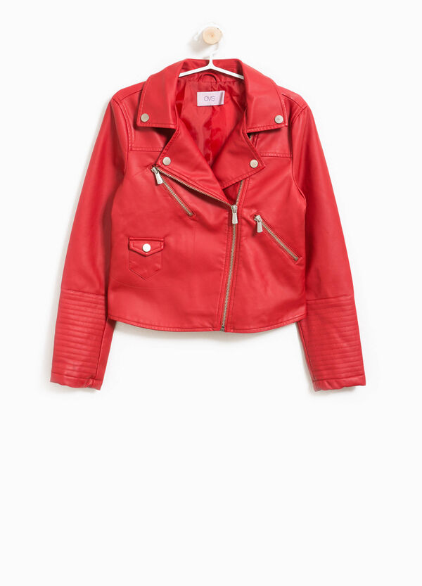 Leather-look biker jacket with lapels | OVS
