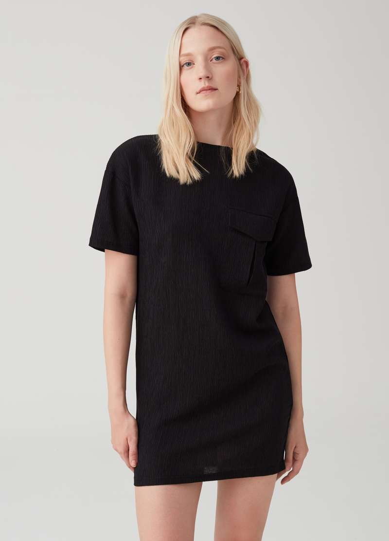 Solid colour dress with utility-style cargo pocket image number null
