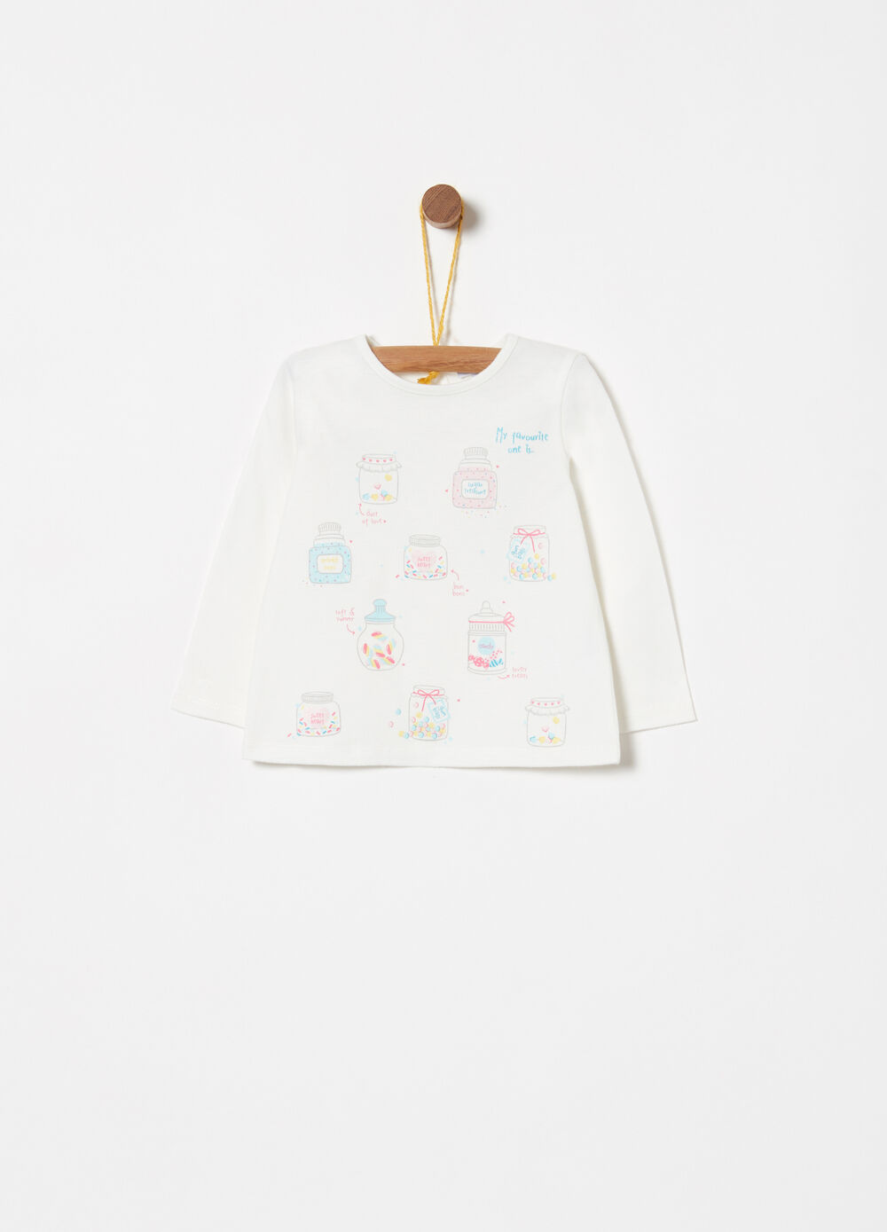 Cotton T-shirt with glitter print and long sleeves
