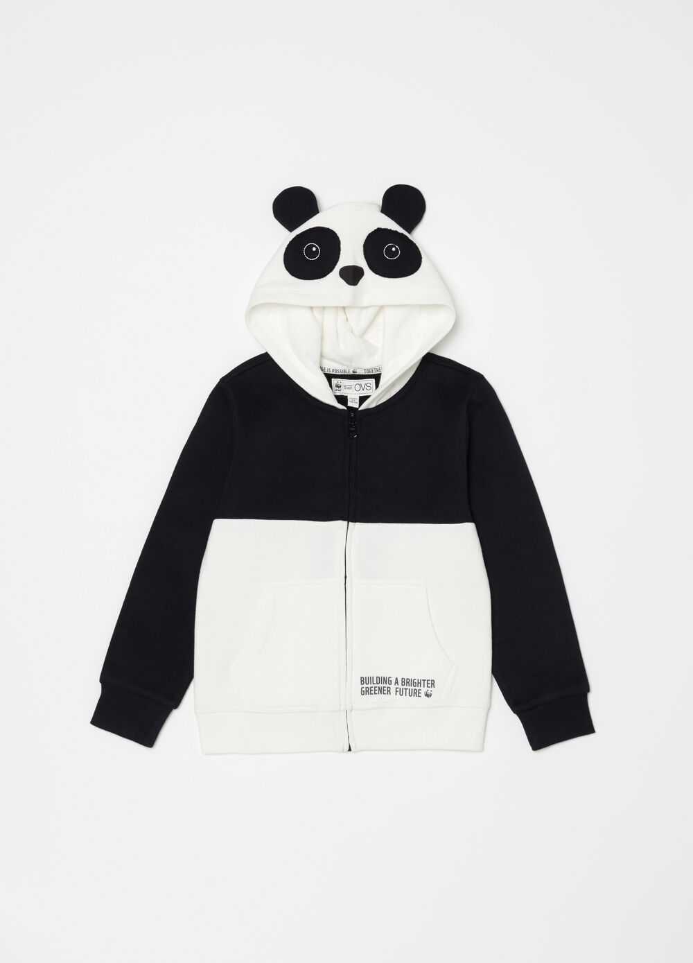 Full-zip sweatshirt in organic cotton with WWF Panda motif