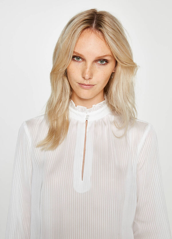 Blouse with flounce and striped pattern   OVS
