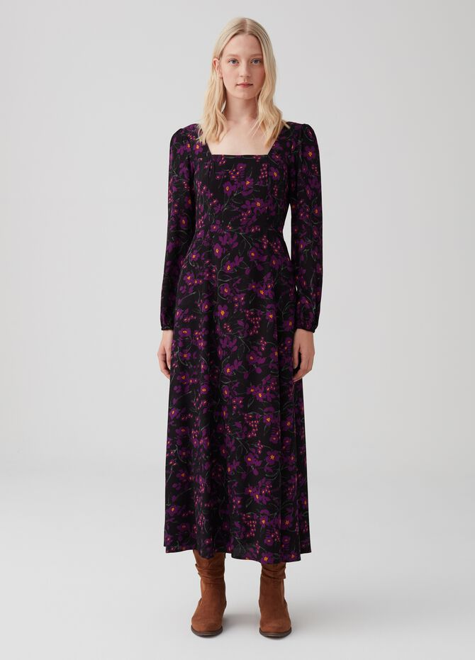 Long dress with split and floral pattern