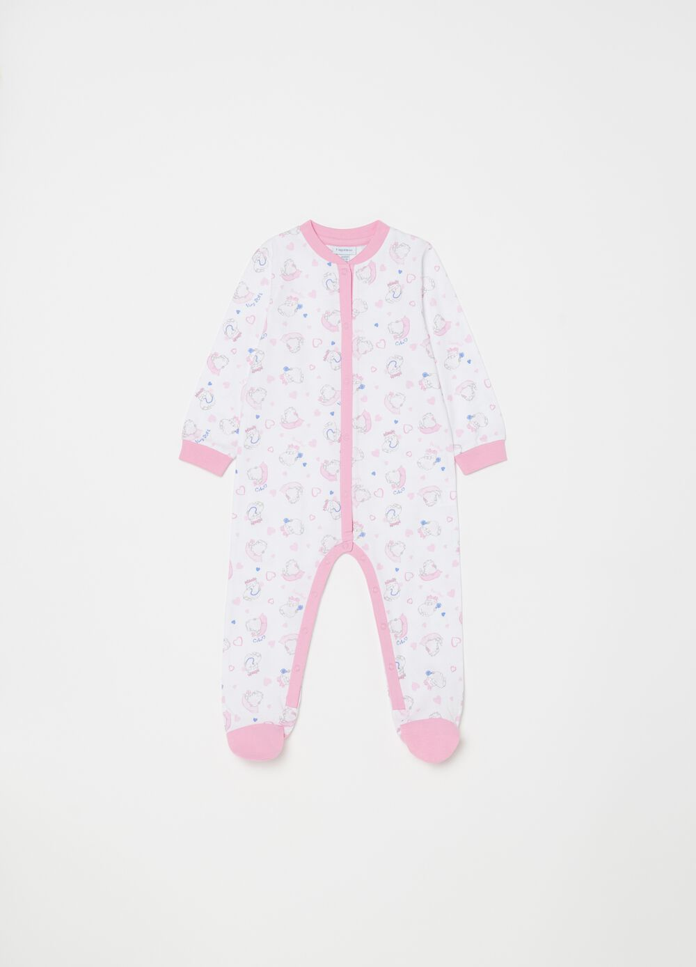 Sleepsuit with kitten and hearts pattern