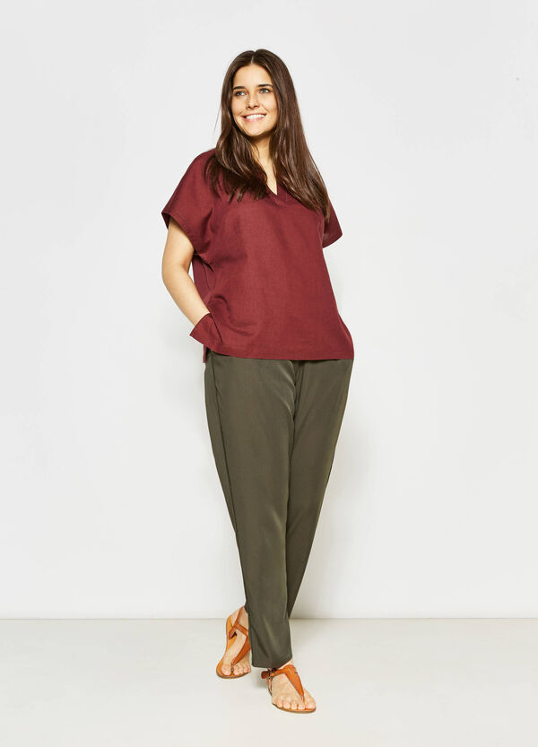 Curvy blouse in linen and cotton   OVS