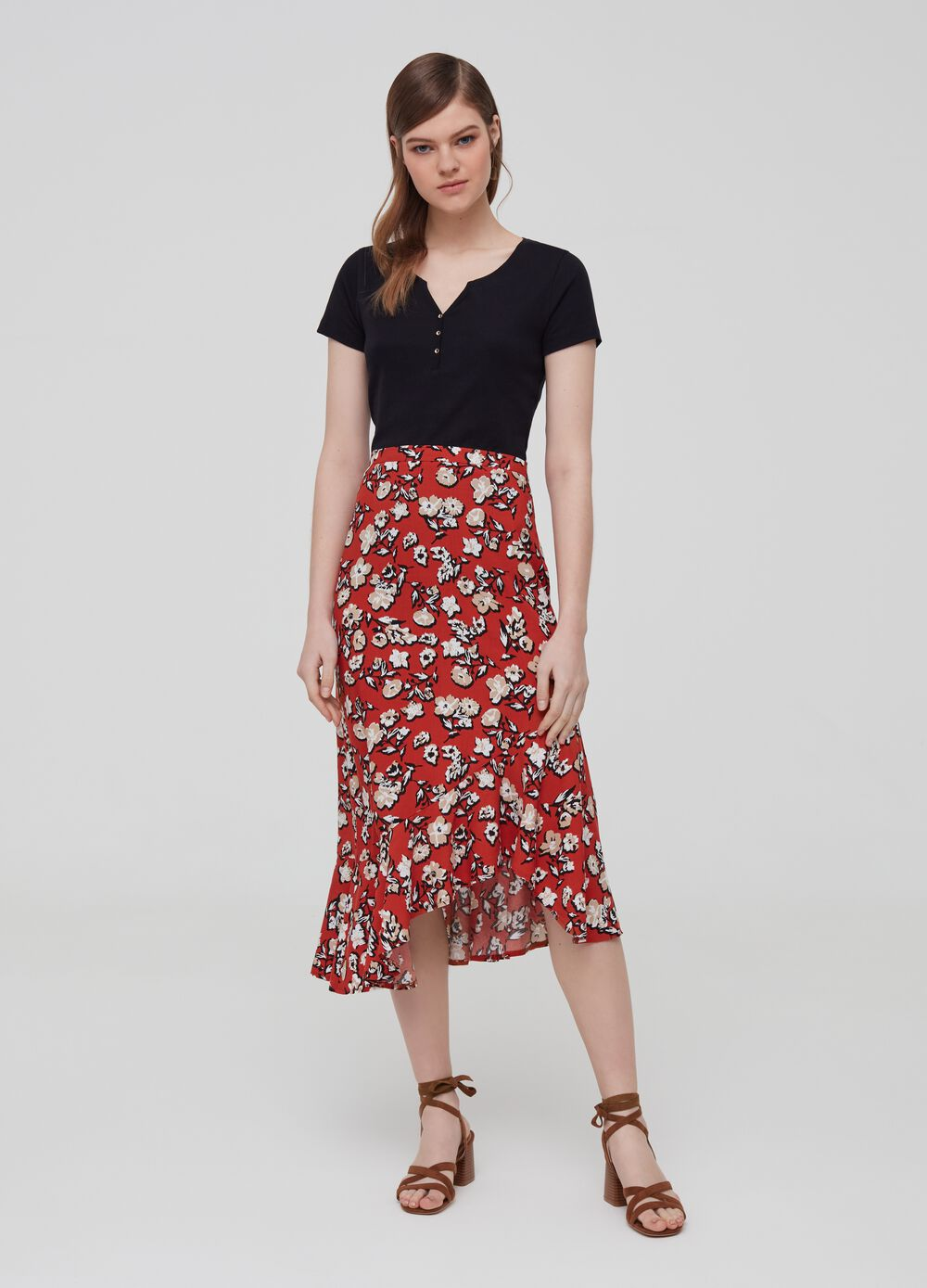 100% viscose skirt with pattern