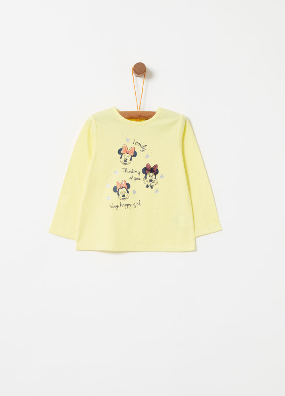 T-shirt with Minnie Mouse glitter print and sequins
