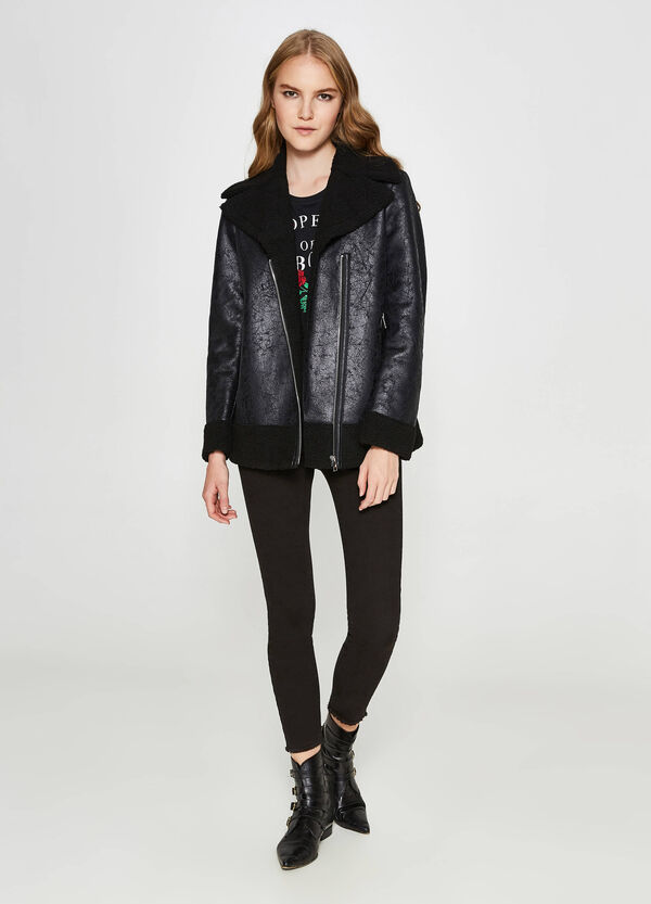 Textured jacket with faux fur | OVS