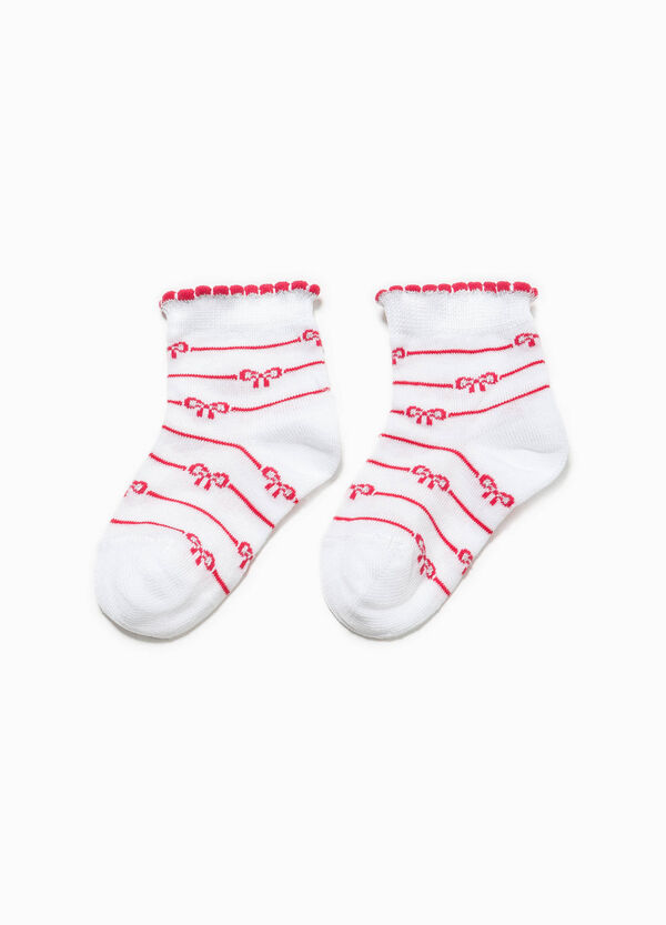 Socks with striped pattern and bows