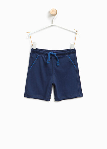 Cotton jersey Bermuda shorts with drawstring