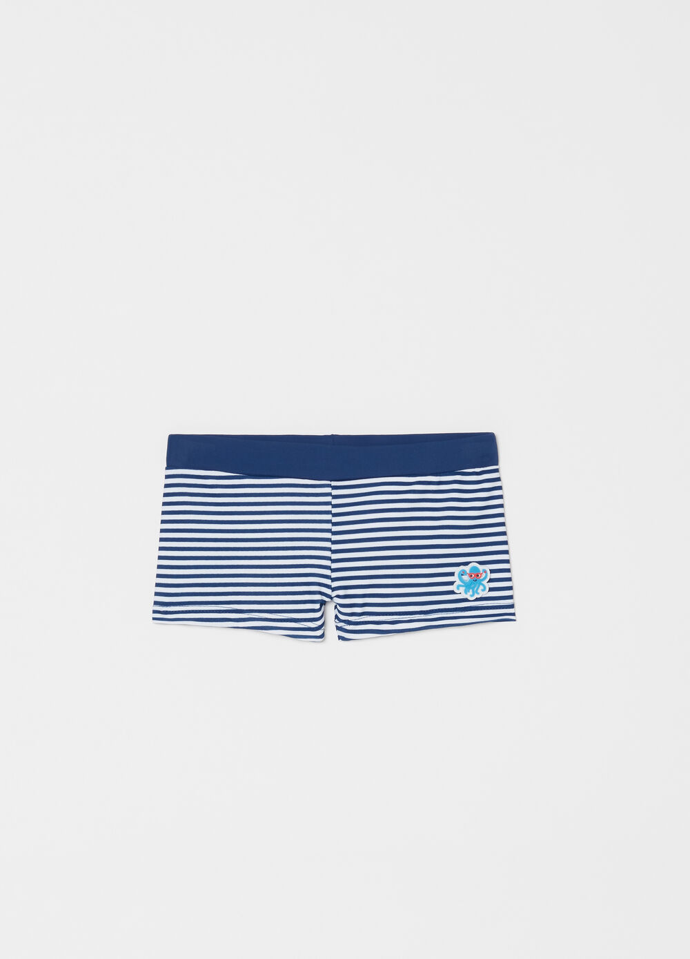 Stretch swim boxer shorts with striped pattern