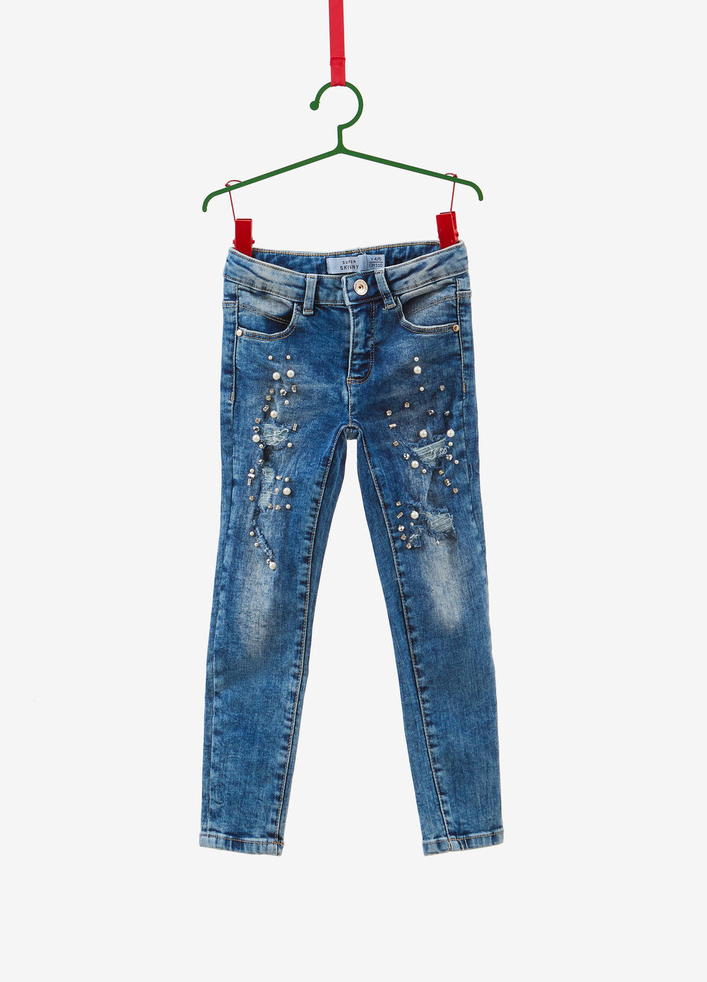 Super-skinny-fit mis-dyed jeans with beads and diamantés