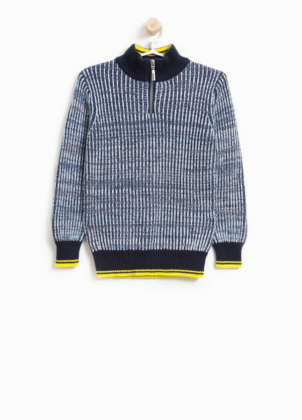 Knitted turtleneck jumper in 100% cotton