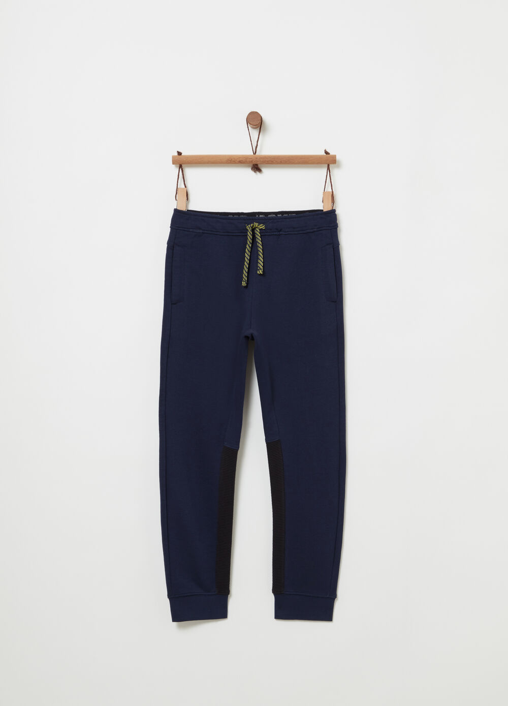 French Terry trousers with rubber label