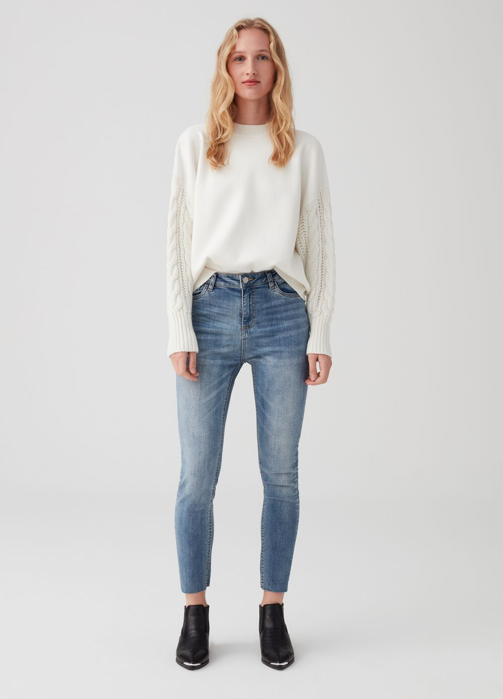 Skinny-fit stretch jeans with cotton feel
