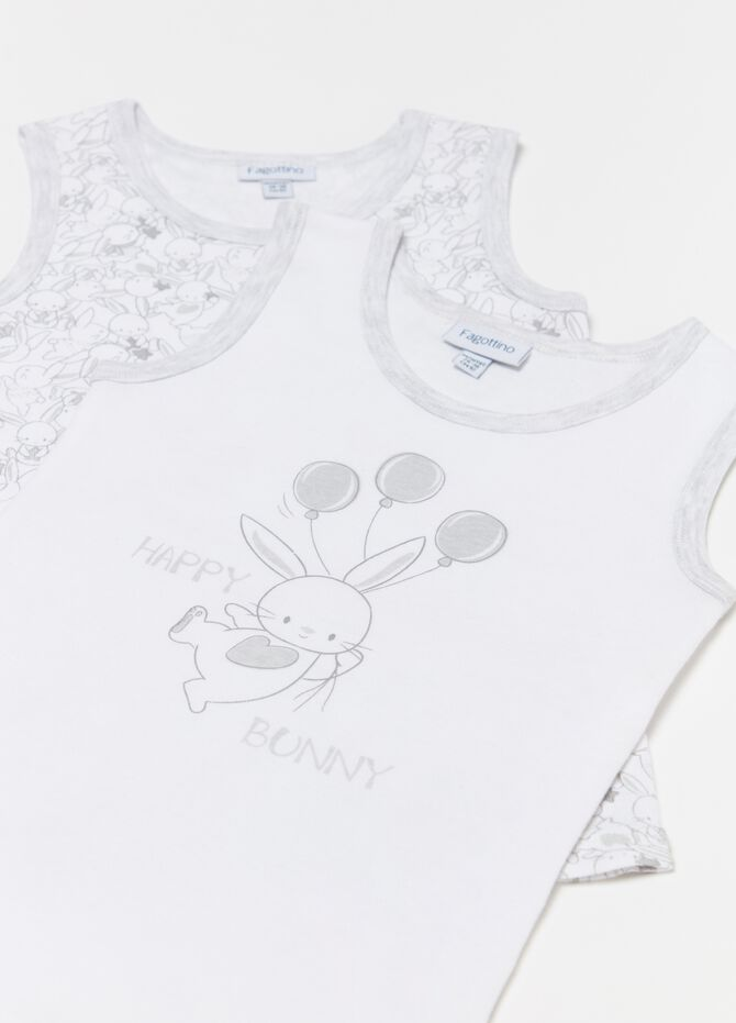 Two-pack vests with rabbits