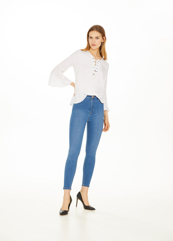 Stretch jeans with high waist band