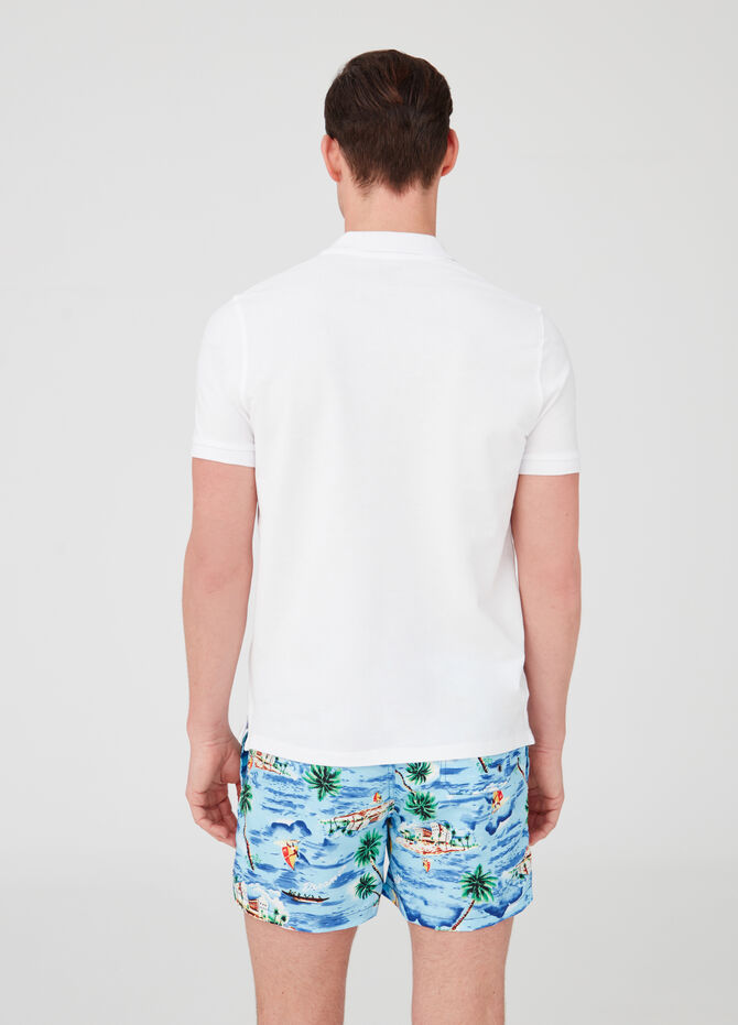 Beach shorts with drawstring and pattern