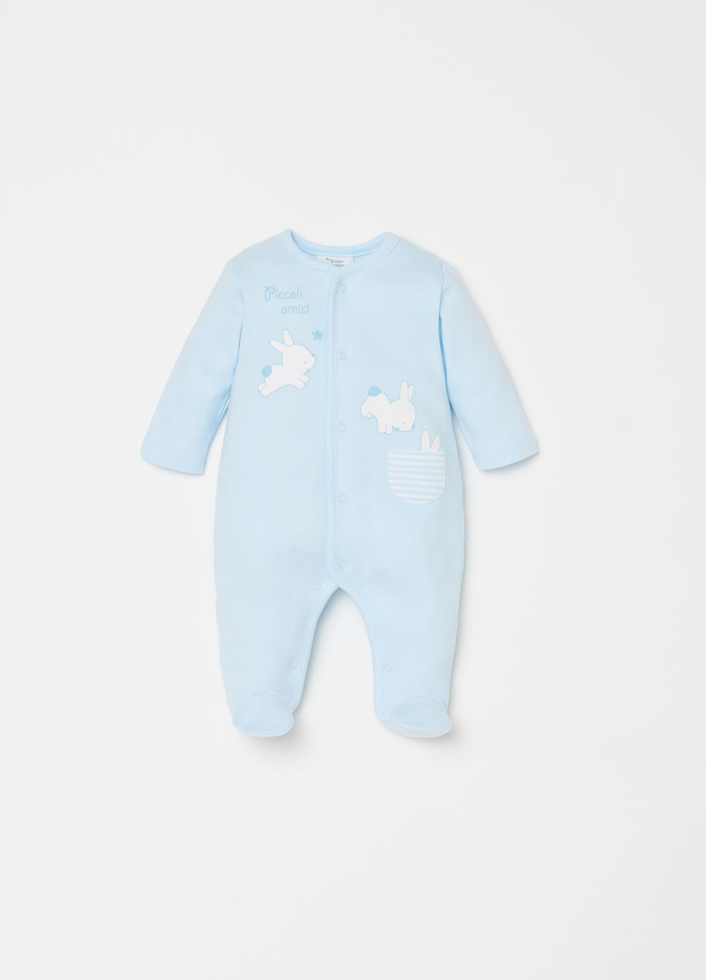 Onesie with feet, pocket, print and stripes