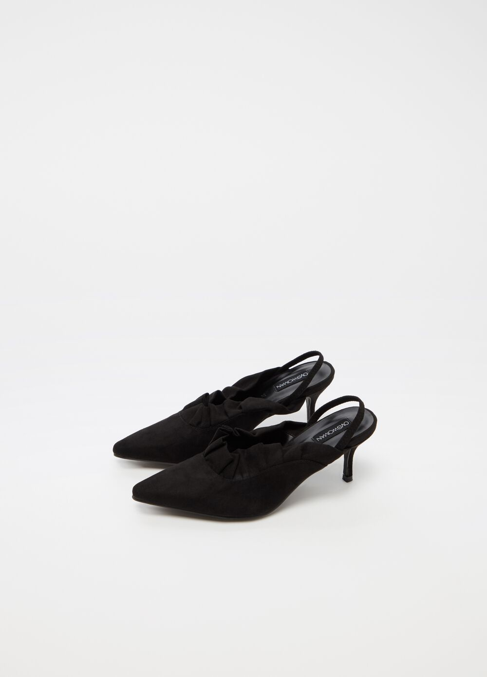 Slingback sandals with pleated effect and laces