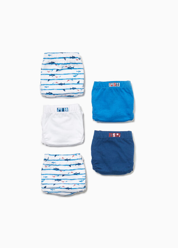 Five-pack cotton briefs with stripes and fish