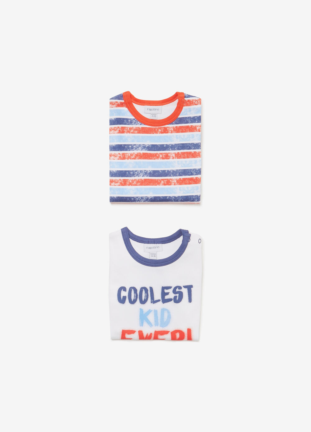 Two-pack striped and printed cotton bodysuits
