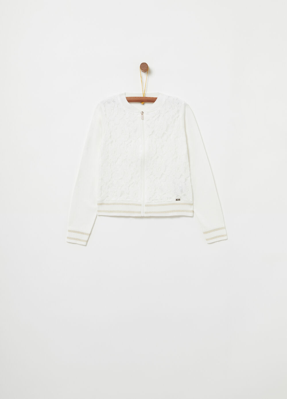 Cardigan with lace panel on the front