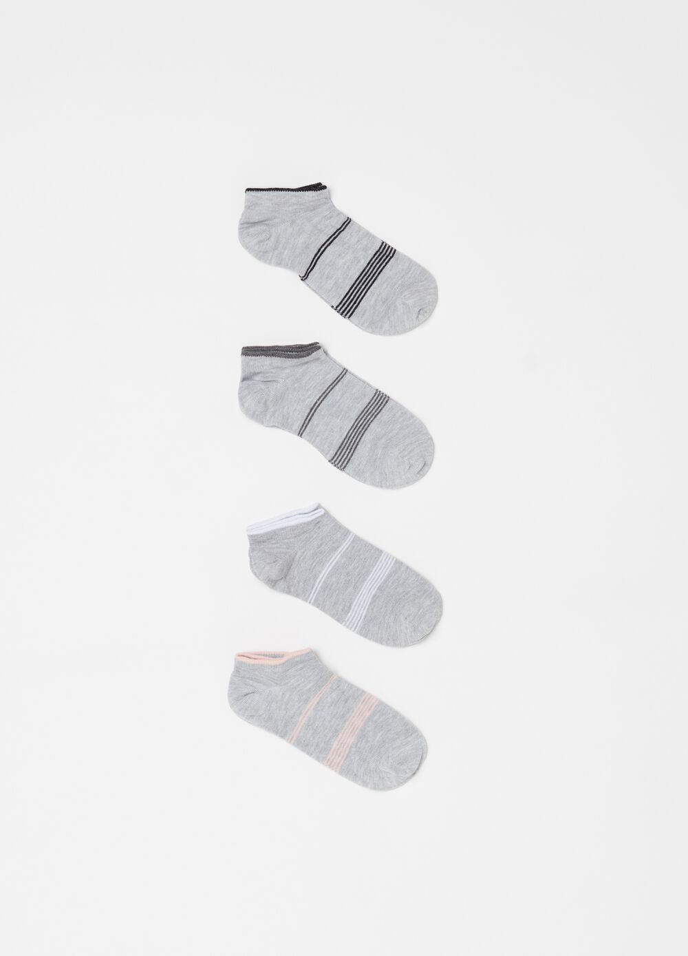 Four-pair pack striped mélange shoe liners