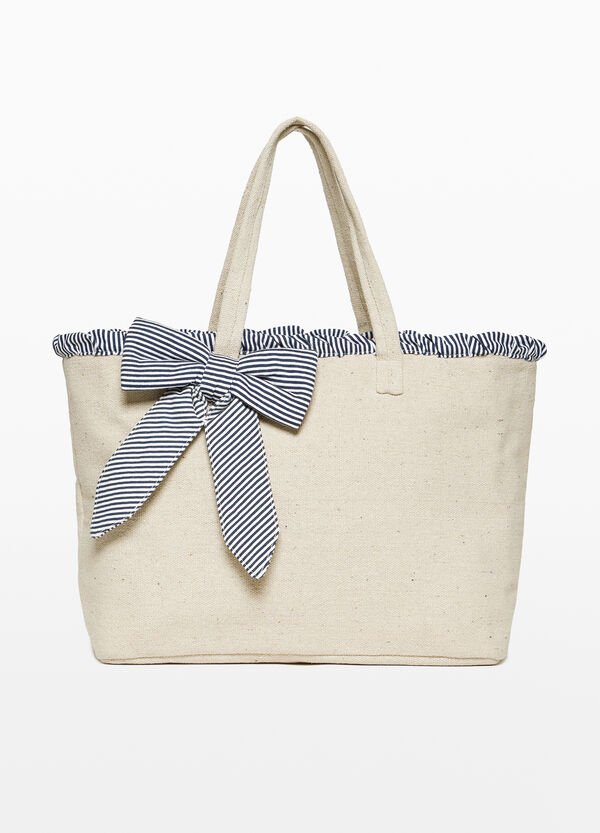 Cotton beach bag with bow