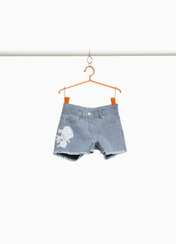 Stretch cotton shorts with stripes and patch